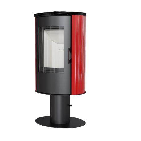 Poele a bois rouge moderne design brique réfractaire post combustion